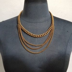 Jewelry - Vintage 90's Gold Toned Multi Chain Necklace